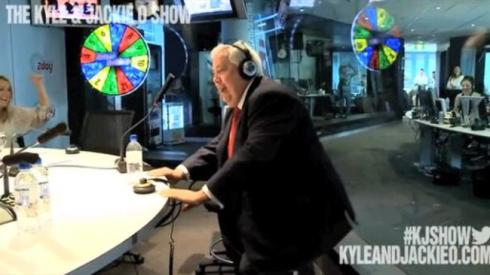 Clive Palmer twerked on the Kyle and Jackie O show this morning. Source: Supplied